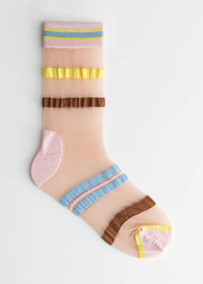 And other stories Sheer Striped Over Ankle Socks