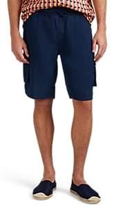 Onia Men's Micro-Basket-Weave Linen Drawstring Shorts - Navy