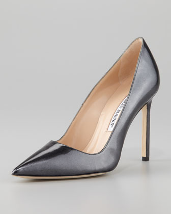 Manolo Blahnik BB Point-Toe Metallic Pump, Black Titanium