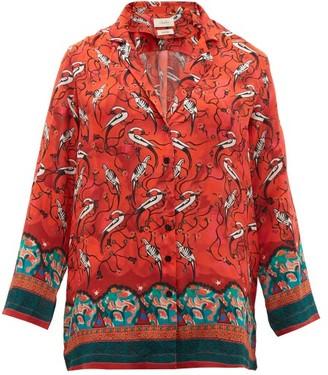Chufy - Najima Peacock Print Satin Crepe Blouse - Womens - Red Multi
