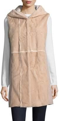 La Fiorentina Women's Hooded Mink Fur Vest