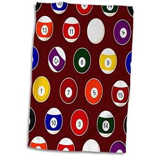 "Pool' 3D Rose Burgundy Pool Ball Billiards Pattern Hand Towel 15"" x 22"""