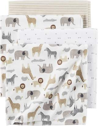 Carter's Baby 4-pack Safari Print Flannel Receiving Blankets