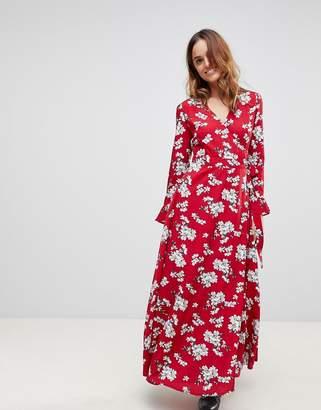 Liquorish Floral Wrap Maxi Dress