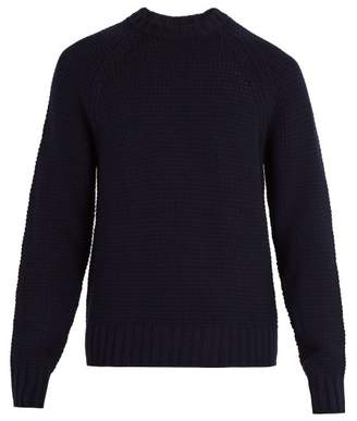 Prada Crew Neck Wool And Cashmere Blend Sweater - Mens - Navy