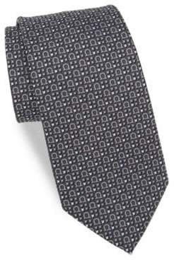 Salvatore Ferragamo Silk Four Square Gancini Tie