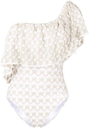 Missoni Mare ruffled one shoulder swimsuit