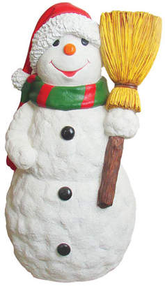 Live Form Snowman with Scarf, Hat & Broom Outdoor Christmas Decoration