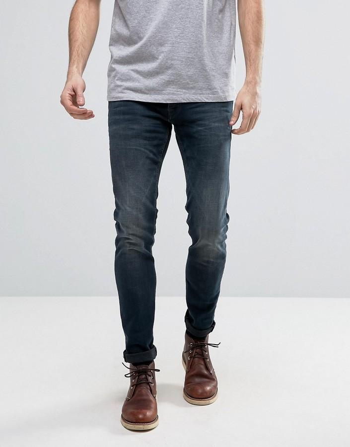 Jack And JonesJack & Jones Intelligence Slim Fit Jeans In Dark Washed Blue Denim