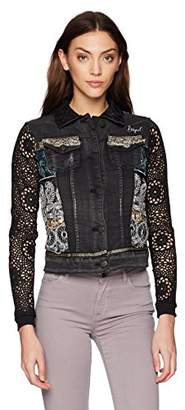 Desigual Women's Rachele Embroidered Detail Denim Jacket Black wash