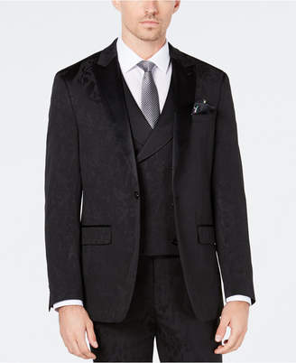 Tallia Men Slim-Fit Tonal Black Bird Pattern Suit Jacket