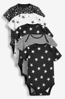 Next Boys Monochrome 5 Pack Multi Print Short Sleeve Bodysuits (0mths-2yrs) - White