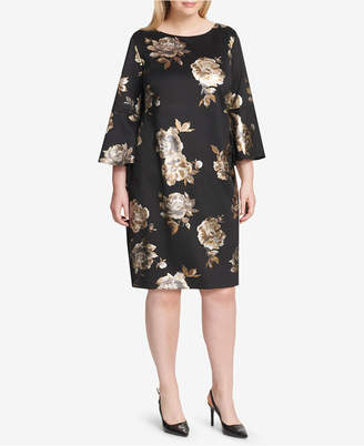 Jessica Howard Plus Size Floral Metallic Bell-Sleeve Dress