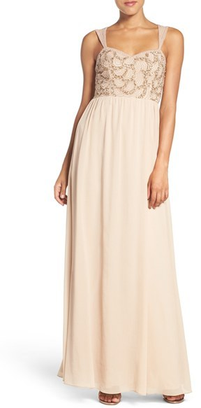 Adrianna Papell Women's Adrianna Papell Beaded Bodice V-Neck Chiffon Gown