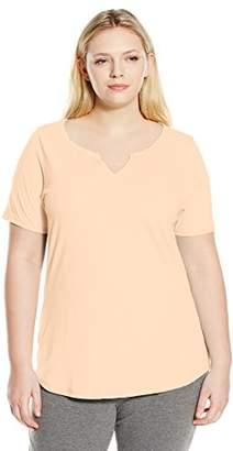 Just My Size Women's Plus-Size Solid Split Neck Shirttail Hem Tee