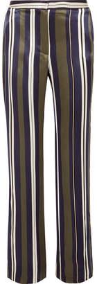 Paul & Joe Striped Satin-twill Straight-leg Pants - Navy