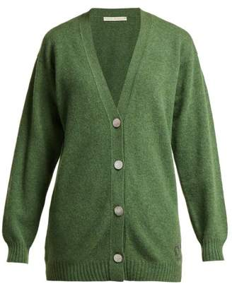 Queene And Belle - Mclaren Crown Embroidered Wool Cardigan - Womens - Dark Green