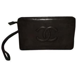 Chanel Vintage Timeless Black Patent leather Clutch Bag
