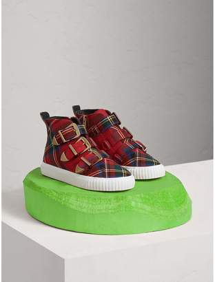 Burberry Buckle Detail Tartan Wool High-top Sneakers