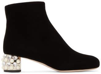 Miu Miu Black Pearl and Crystal Velvet Boots