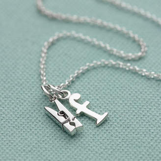 8192ba06e8f Lily Charmed Personalised Silver Clothes Peg Necklace