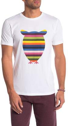 Knowledge Cotton Apparel Striped Owl Graphic Tee