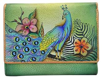 Anuschka Hand Painted Rfid Blocking Small Flap French Wallet Passionate Peacocks Wallet