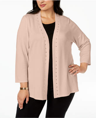 JM Collection Plus Size Stud-Bordered Open-Front Cardigan