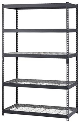"Edsal Muscle Rack 48""W x 24""D x 78""H Five-Shelf Heavy-Duty Steel Shelving Unit, Black"