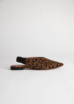 And other stories Pointed Leopard Suede Slingback Flats