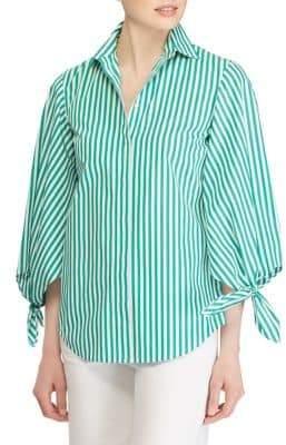 Lauren Ralph Lauren Balloon-Tie Sleeve Stripe Shirt