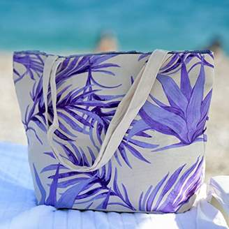 Ecolusive Women' s Multi-Purpose Tropical Canvas Shopping/Beach Tote Shoulder Bag with Pouch