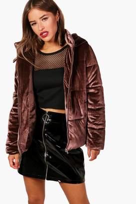 boohoo Petite Velvet Hooded Padded Jacket