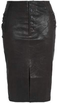 J Brand Natasha Button-Detailed Leather Skirt