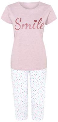 62834ad24 George Smile Slogan Polka Dot Cropped Pyjamas Gift Set