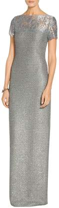 St. John Metallic Sequin Knit Gown