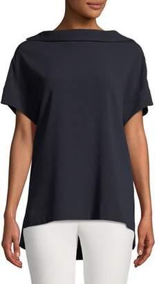 Escada Short-Sleeve High-Neck Crepe Blouse