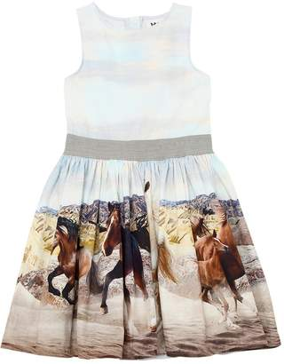Molo Horses Printed Cotton Poplin Dress