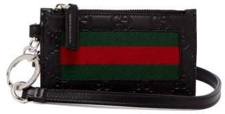 Gucci Web Striped Leather Cardholder - Mens - Black Multi