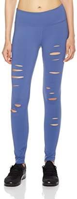 7Goals Women's Wide-Waistband Cutout-Leg Long Workout Legging