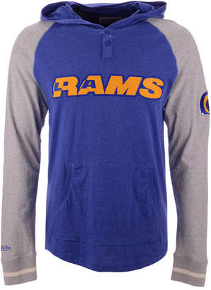Mitchell & Ness Men Los Angeles Rams Slugfest Lightweight Hooded Long Sleeve T-Shirt