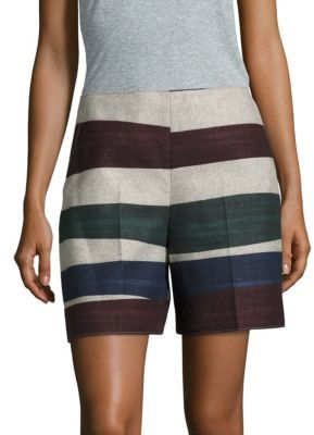 Carven Virgin Wool-Blend Striped Shorts