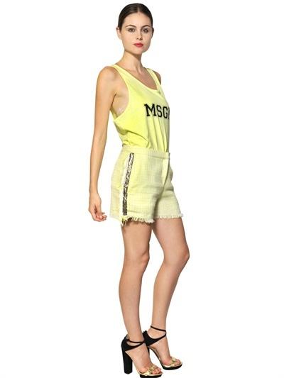 MSGM Fringed Cotton Tweed Shorts