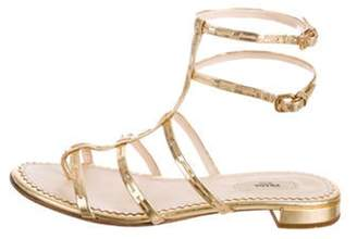 Prada Leather Multi-Strap Sandals Gold Leather Multi-Strap Sandals