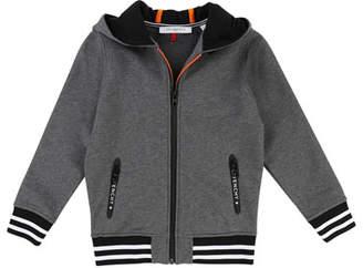 Givenchy Hooded Zip-Up Jacket w/ Logo Back, Size 4-5