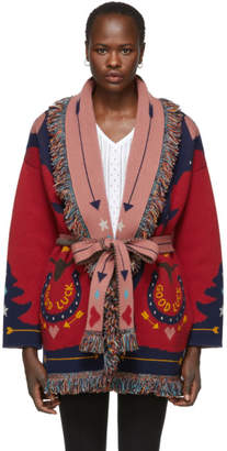 Alanui Red and Multicolor Good Luck Cardigan