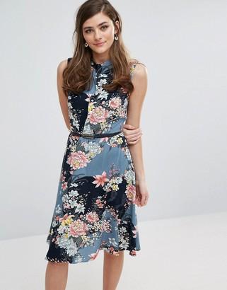 Oasis Longline Floral Print Belted Skater Dress $68 thestylecure.com