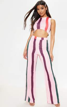PrettyLittleThing Light Pink Multi Thick Stripe Wide Leg Trousers