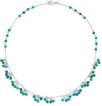 Sterling Silver Simulated Turquoise Bead Toggle Necklace