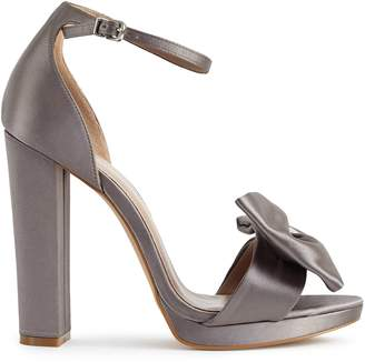 Reiss VICKY BOW-DETAIL SATIN SANDALS Grey